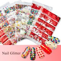 Holographic Nail Art Sequins Flakes Glitter Moon Star Heart 3D Decorations Tips