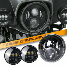 """7"""" LED Round Projector Headlight + Passing lights Fit Harley Davidson Touring"""