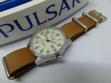 PULSAR by SEIKO AS32-X013 SOLAR MENS WATCH  *EX-DISPLAY* *LEATHER* RRP £169.99