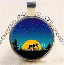 Moose moon trees Photo Cabochon Glass Tibet Silver Chain Pendant Necklace