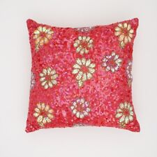 Sequins and Beads red cushion cover 40 x 40 floral design