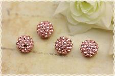 4pz perle strass svarowsky cristallo base in resina rosa rhinestone crystal
