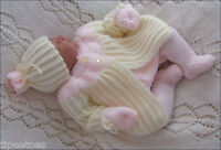 Baby Knitting Pattern DK 8 TO KNIT Cardigan Pants Hat-Mittens Girls Reborn Doll