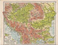 1931 MAP ~ HUNGARY YUGOSLAVIA RUMANIA & BULGARIA MONTENEGRO TRANSYLVANIA BOSNIA