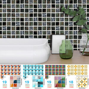 19pcs Self Mosaic Tile Wall Sticker PVC Waterproof Decals Kitchen Bathroom C2UK