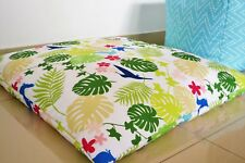 "WATERPROOF IN/OUTDOOR FLOOR CUSHION Cover LARGE 35"", Tropical leaves, birds"