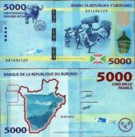 BURUNDI 5000 (5,000) FRANCS 2015 P-53 WATER BUFFALO NEW UNC