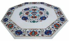 15'' Octagon White Marble Top Floral Art Coffee Table Inlay Marquetry Work H3061
