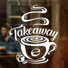 Café emporter tasse cafe shop vinyle autocollant fenêtre lettrage wall art signe decor