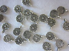 10 Small Antique Silver 11x9mm Medallion Charms #ch1502 Combine Post-See Listing