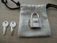 authentique cadenas hermès 2.5x3 cms neuf acier palladié dustbag
