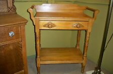 Antique Pine Wash Stand / Server w/ Wood Acorn Pulls 2 Side Towel Bars & Drawer