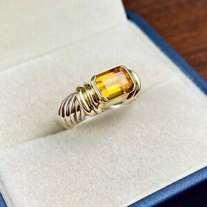 DAVID YURMAN STERLING SILVER & 14K GOLD EMERALD CUT CITRINE CABLE RING