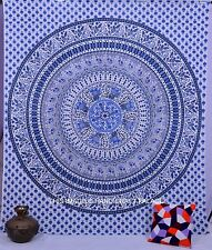 Indian Bird Mandala Queen Cotton Tapestry Wall Hanging White Bedding Bed Throw