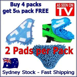2 PACK - Aftermarket H20 H2O StickOn CORAL BLUE Cleaning (X5 Steam Mop) Pads