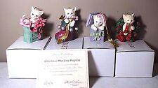 Set of 4 Lenox Festive Felines Kitten Cat Christmas Ornaments - Cat Lovers!