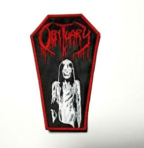 OBITUARY COFFIN RED/WHITE EMBROIDERED PATCH