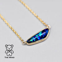 N1 Australian Black Opal Necklace in 14K Yellow Gold Minimalist Elongated Shaped