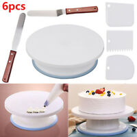 6X Kitchen 28cm Cake Decorating Icing Rotating Revolving Turntable Display Stand