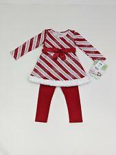 Bonnie Jean 2T Girls Dress & Leggings Set Red & White Christmas Party