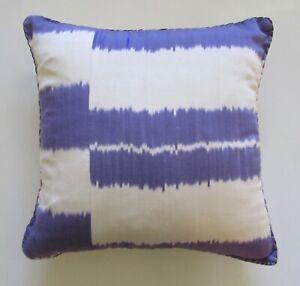 "Madeline Weinrib Silk/Cotton Purple Stripe Ikat Pillow 18"""