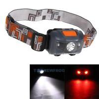 Super Bright 300LM Mini Headlight 3x CREE R3 +2 Red LED Headlamp Head Torch Lamp