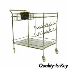 Vintage Mid Century Modern Metal Brass Atomic Age Rolling Serving Bar Tea Cart