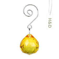 Yellow Hanging Crystal Ball Prisms Feng Shui Chandelier Lamp Drop Pendants 30mm