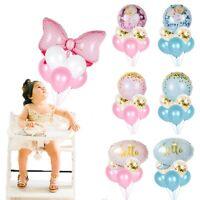 6X/Set Foil Latex Balloon Confetti Bow Kids Baby Shower 1st Birthday Party Decor