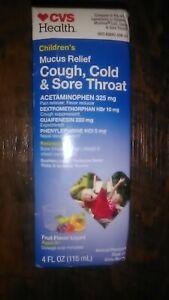 🍇CVS~Children's~Mucus Relief Liquid~Cold Cough Sore Throat~Fruit Flavor~Ages 6+