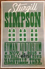 STURGILL SIMPSON Hatch Show Print RYMAN Poster NASHVILLE TN 11/1/2015