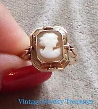 Antique Vintage 10K Rose Gold Reversible Cameo Black Onyx Ring Size 8.5 RARE