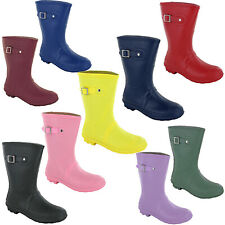 Short 3/4 Length Wellingtons Lightweight Womens Calf Wellies Buckle Boots UK 3-9