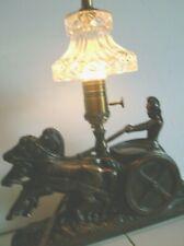 1920's GLADIATOR & HORSES LAMP SPELTER art deco ANTIQUE GLASS SHADE / NEAR MINT