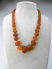 ANTIQUE RUSSIAN BALTIC AMBER NECKLACE PINK GOLD LOCKET LENGHT 61cm - GROSS 66gr.