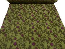 Stoff Ital. Musterwalk Walkloden Relief Blumen Ranken grün fuchsia oliv