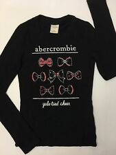 NWT ABERCROMBIE KIDS GIRLS MEDIUM BLUE LONG SLEEVED TEE T TOP BEADS HOLIDAY BOW