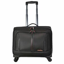 """17"""" 4 Wheeled Spinner Laptop Trolley Office Cabin Business Case Briefcase Bag 8250 Black"""