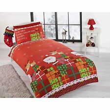 RED DEAR SANTA CLAUS CHRISTMAS TODDLER DUVET COVER AND PILLOWCASE BEDDING SET