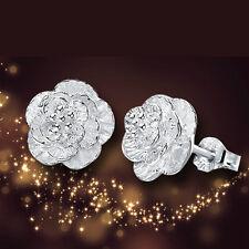 wholesale 925 Silver Rose Flower Ear Stud Earrings women's fashion jewelry Gift