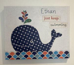 """Designs Direct """"Ethan Just Keep Swimming"""" Wall Decor WHALE BLUE"""