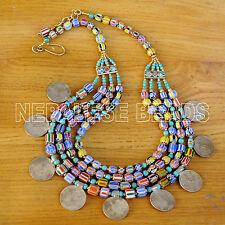 "N2285 Tibetan Nepalese Chevron Glass Beads Brass Coin Necklace  26"" Tibet"