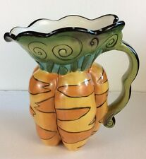 Blue Sky Clayworks Heather Goldminc Hand Painted Carrot Shaped Ceramic Pitcher