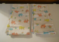 2 Rare Vintage Hospital baby receiving blankets bunny Rabbits Ball pink blue