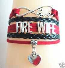 Infinity Love FIRE WIFE With Heart Charms Leather EUROPEAN Friendship Bracelet