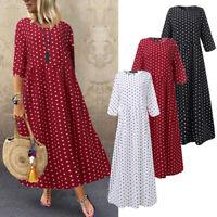ZANZEA UK Women 3/4 Sleeve O Neck Polka Dot Casual Loose Tunic Kaftan Maxi Dress