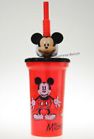 DISNEY MICKEY MOUSE EARS 3D KIDS TUMBLER TRAVEL CUP W/ STRAW BOYS GIRLS GIFT NEW