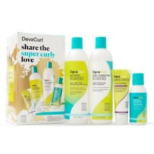 DevaCurl Super Curly Love Kit Cleanser Conditioner Leave In Decadence Stretch