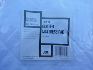 """OCM Twin-XL Quilted Mattress Pad. White.  39"""" x 80""""; t9"""