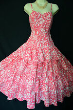 VINTAGE LAURA ASHLEY 1950s STYLE PINK FLORAL FLAMENCO RUFFLE SUN DRESS UK 6, 8
